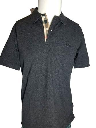 8886df6ec BURBERRY Brit Men s Nova Check Placket Polo Shirt Charcoal - Grey - Medium