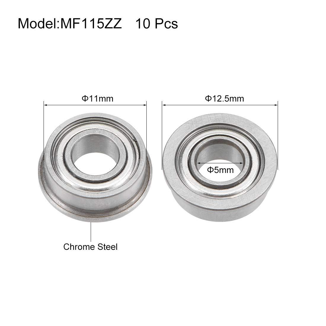 sourcing map MF52ZZ Flange Ball Bearing 2x5x2.5mm Full Complement Bearings 5pcs
