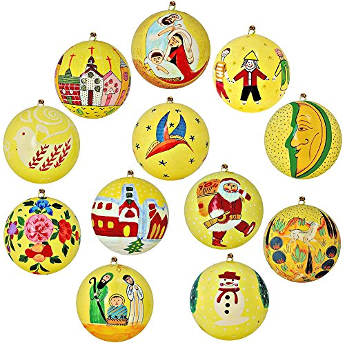 Set of 12 Yellow Paper Mache Christmas Ball Ornaments Handmade in Kashmir, India