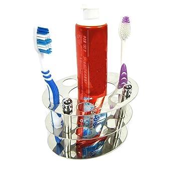BeGrit Acero Inoxidable Soporte para cepillos de Dientes Pasta de Dientes Soporte Organizador para Cuarto de baño vanidad encimera o montado en la Pared: ...