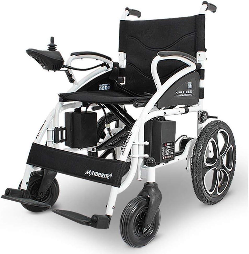 Silla de ruedas eléctrica plegable, silla de viaje de tránsito portátil 4 ruedas Batería de litio liviana Marco de aluminio de aviación for discapacitados ancianos sillas de ruedas electricas