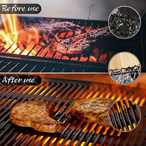 Wood Grill Scraper,Cedar Wooden Grill Cleaner Bristle Free,Wood Grill Brush BBQ Scrapers with Bottle Opener Natural Safe Eco-Friendly Cleanning Scraper for Top and Between Barbecue Grates