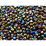 100pcs Fire-Polished Beads - Czech Faceted Glass Beads, Round 4mm Iris Rainbow