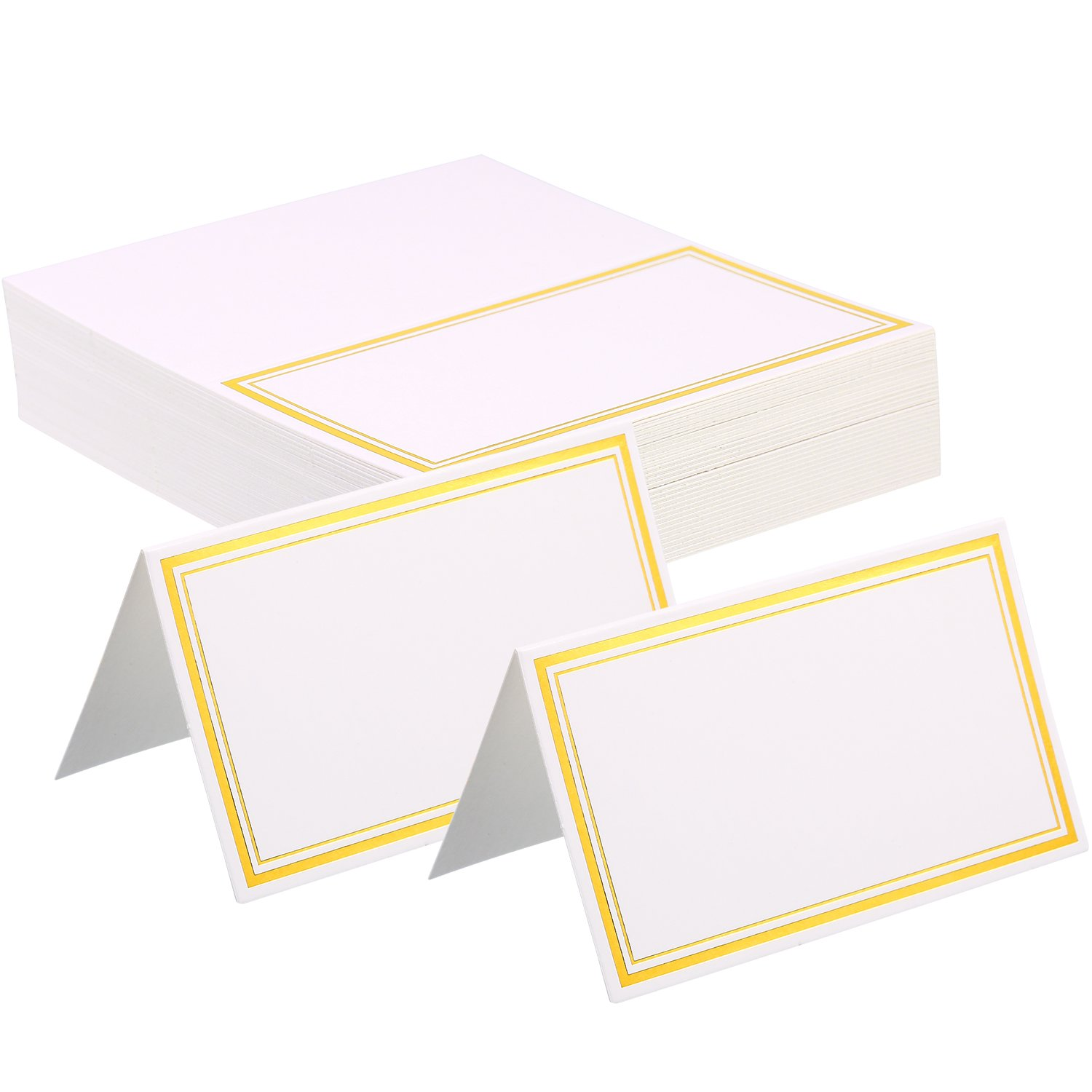 Zhanmai Place Cards Table Tent Name Place Cards Seating Cards Name Tags with Gold Foil Border for Wedding and Banquets (120)