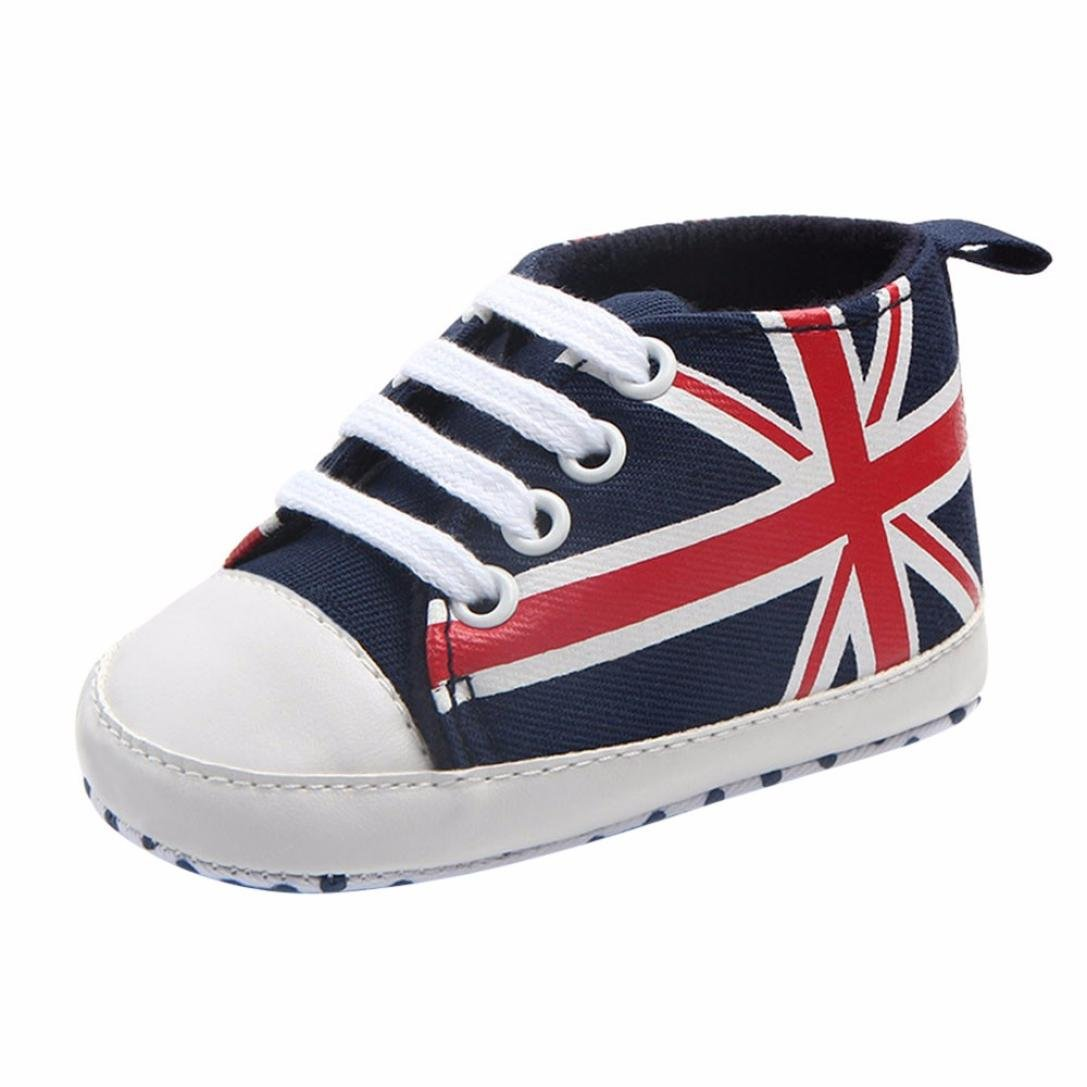 Baby Shoes, Iuhan Newborn Union Jack Flag Print Canvas Anti-slip Soft Sneaker (Age:3-6Months, Dark Blue)