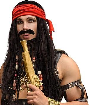 Piraten Perücke mit Kopftuch für Herren Fasching Karneval