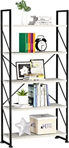 YITAHOME 5 Tiers Bookshelf, Artsy Modern Bookcase, Book Rack, Storage Rack Shelves Books Holder Organizer for Books/Movies in Living Room/Home/Office - White