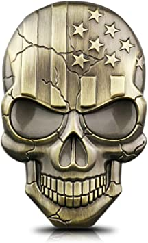 USA American flag skull head 3D Metal Car Sticker Badge Emblem Decals Sticker