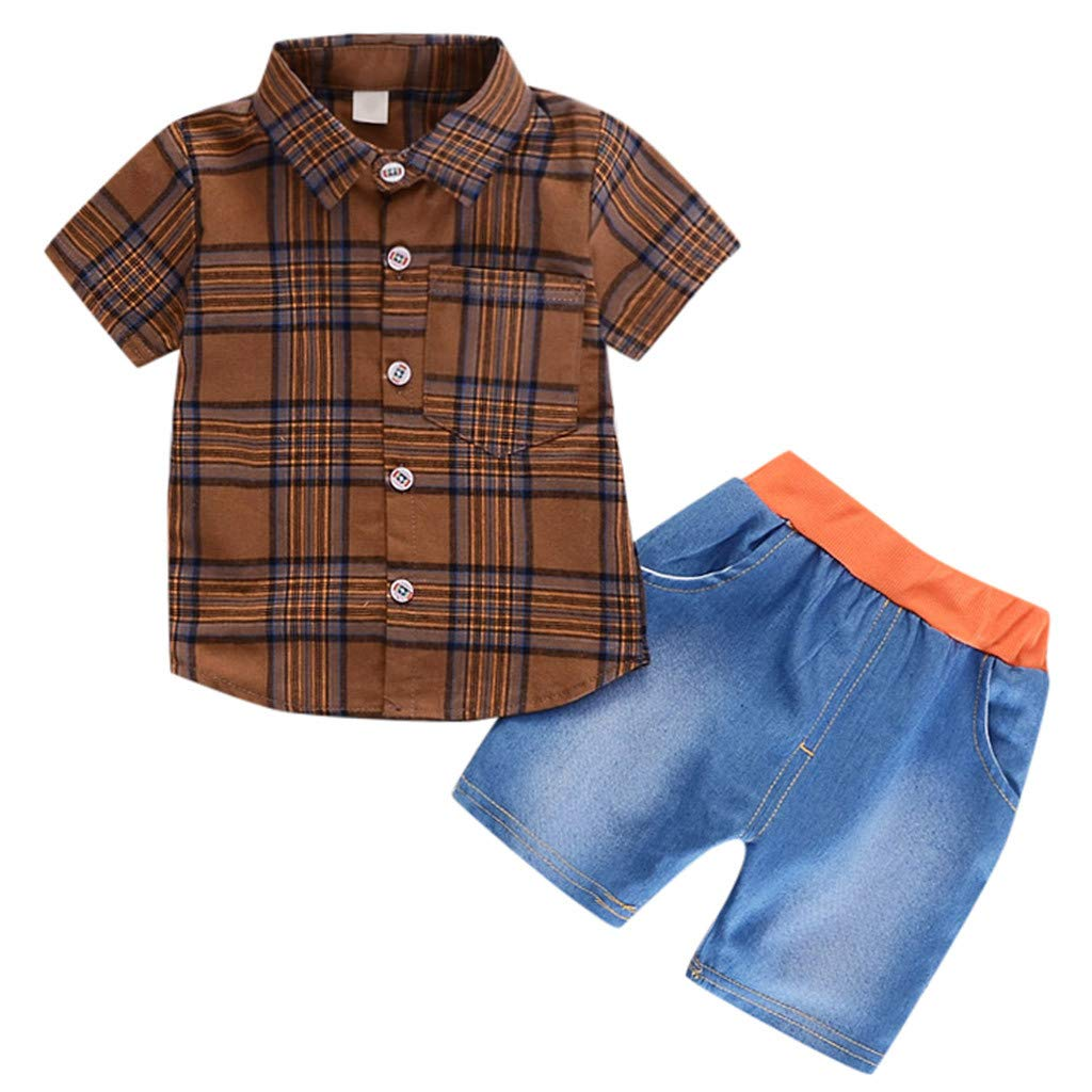 GorNorriss Baby Set Infant Girl Gentleman Plaid Shirt Print Solid Denim Shorts 2PC Set Outfits