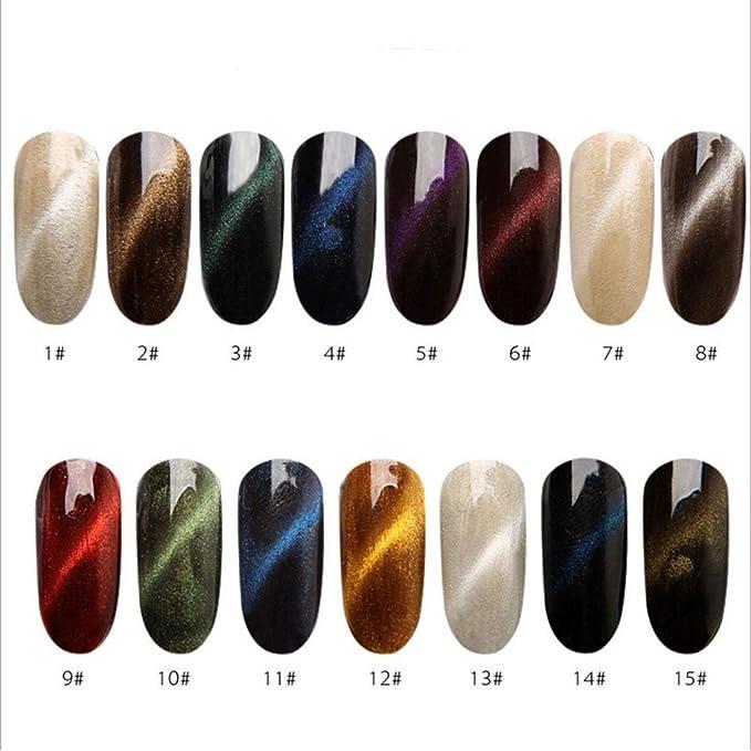 Kit de pigmentos para manicura con efecto de espejo y ópalo, 15 colores (15 cajas 01 - 15): Amazon.es: Belleza