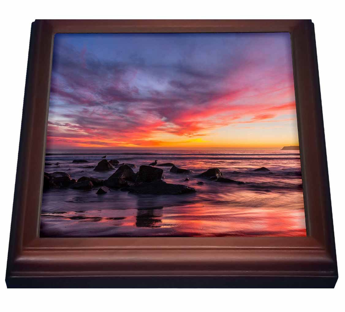 3dRose trv_205950_1 Sunset Over The Pacific from Coronado Trivet with Ceramic Tile, 8' x 8', Brown