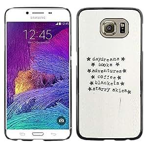 LECELL--Funda protectora / Cubierta / Piel For Samsung Galaxy S6 SM-G920 -- Typewriter Paper Adventure Text Stars --