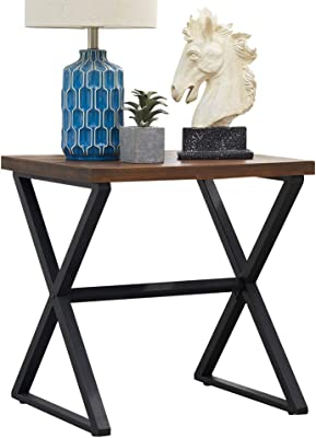 O&K Furniture Farmhouse Accent End Side Table Industrial Nightstand with X-Shaped Metal Frame for Bedroom and Living Room (Brown, 1-Pcs)