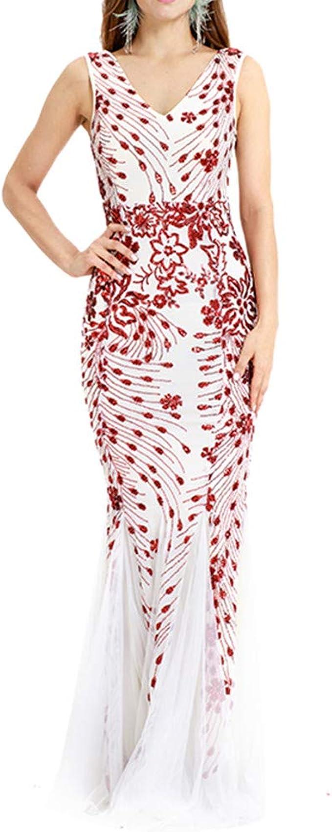 kingko Damen Festlich Hochzeit Kleider Glänzend Elegant Lang