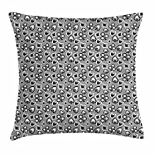 Casino Throw Pillow Cushion Cover, Icons of Playing Cards Abstract Style with Monochrome Display Gambling Theme, Decorative Square Accent Pillow Case, 18 X 18 Inches, Black White Grey
