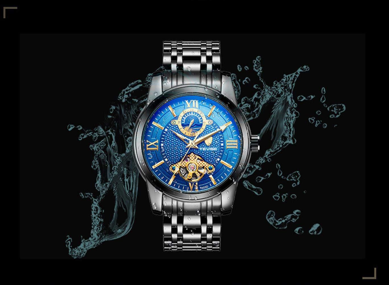 Armbandsur, mäns automatiska mekaniska klocka genom botten av den vattentäta klockan Full Gold