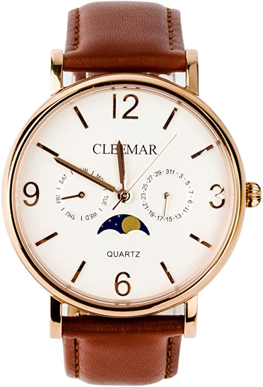 Cleemar watches with sun and moon phase