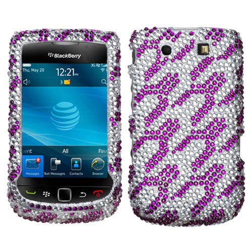 Purple White Rocket Diamante Protector Cover for RIM BlackBerry 9800 -