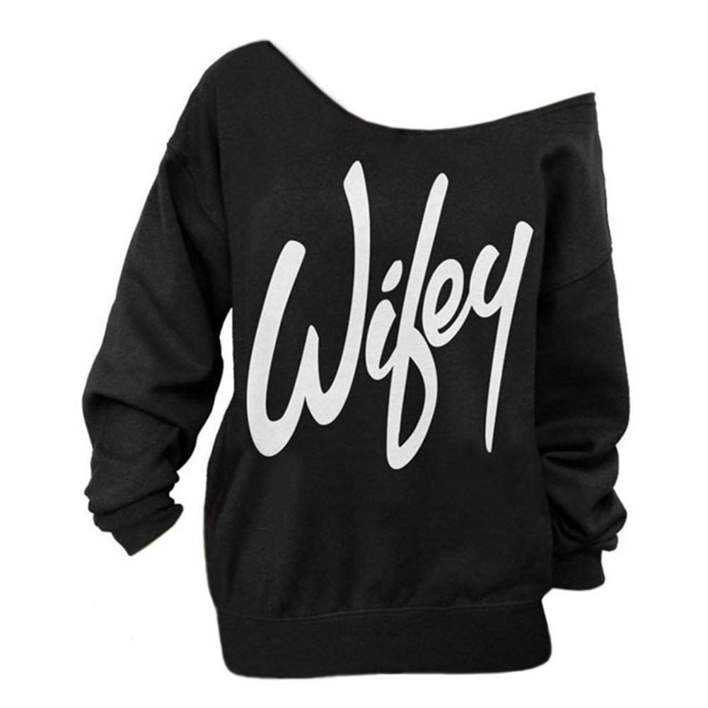 Begonia.K Women's Wifey Shirt Letter Print Off The Shoulder Slouchy Pullovers, Black, X-Large