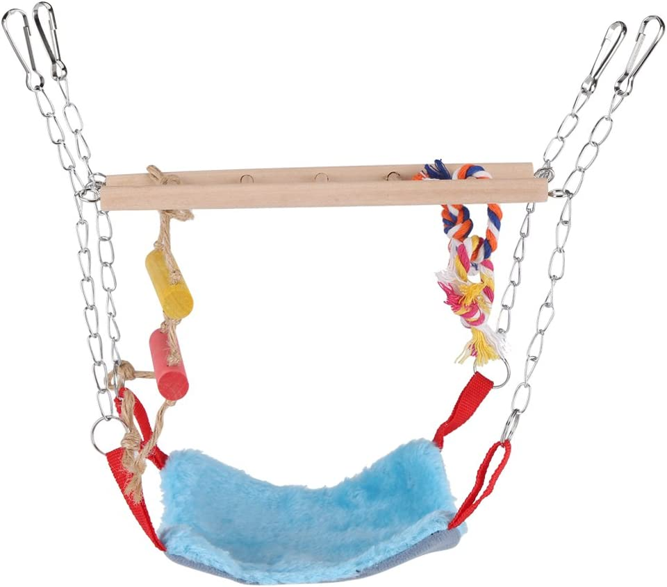 Fdit Juguete de Aves Loro Escalada Juguete Escalera de Oscilación Colorida con Accesorios de Cama Puentes Colgantes para Mascotas(Azul)