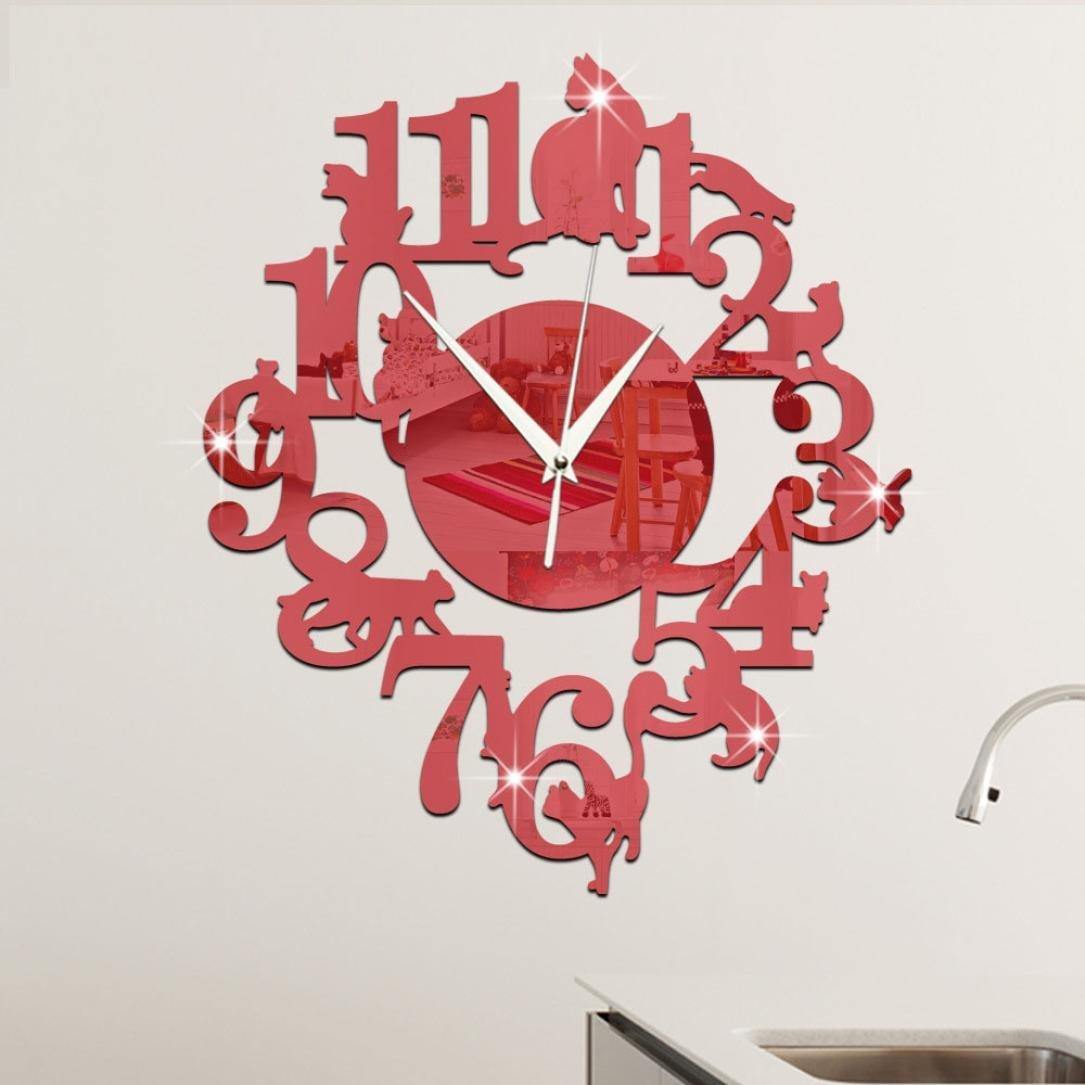BeSde取り外し可能な壁時計リビングルームDIY 3dホーム装飾ミラーLargeアートデザイン レッド B06WRWSW2Mレッド