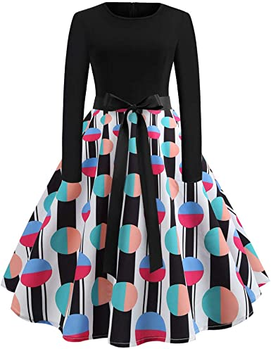 Pandaie-Womens Dresses Ladies Casual Loose Party Long Sleeve Striped Dress
