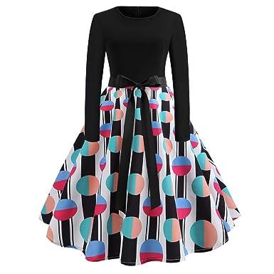 9b3e74458839 iYmitz Damen Lässige Langarm Fliege Drucken Vintage Kleid lang  Abendgesellschaft Kleid  Amazon.de  Bekleidung
