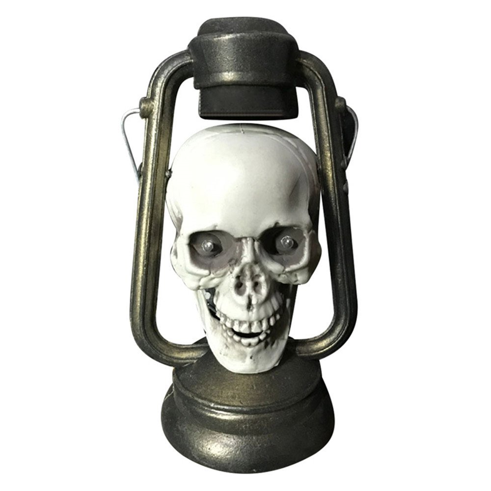 Mokylor Pirate Skull Lantern, Spooky Light Up Lamp with Red Flashing Light for Halloween Horror Party Prop Room Decoration