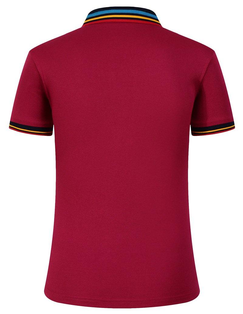Mitario Femiego Women Classic Rainbow Collar Slim Fit Short Golf Polo Shirt Wine Red S by Mitario Femiego (Image #1)