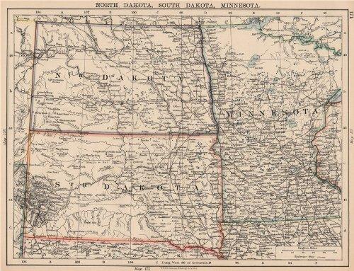 USA Plains States. North Dakota South Dakota Minnesota. Railroads - 1906 - Old map - Antique map - Vintage map - Printed maps of USA Plains States