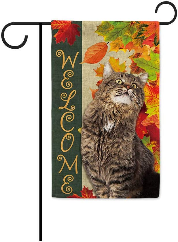 BAGEYOU Welcome Fall with My Favorite Cat Lovely Maine Coon Garden Flag Maple Leaf Harvest Season Rustic Decor Yard Banner for Outside 12.5X18 Inch Printed Double Sided