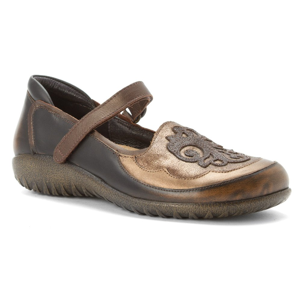 NAOT Women's Motu Mary Jane Flat B00TQ8D9QO 7 B(M) US|Volcanic Brown Leather/Bronze Shimmer/Gr
