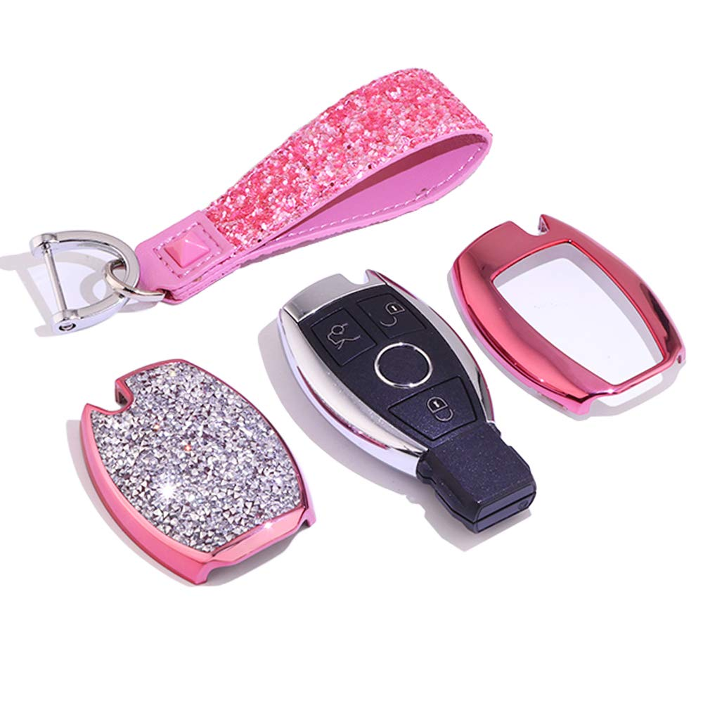 QinLing /Fob Key Cover Dazzle Pink case for Mercedes Benz Accessories Keychain fit C E S GLA GLE GLC GLA Key Chain Holder Shell Bag Hyunkey Remote 3 Buttons