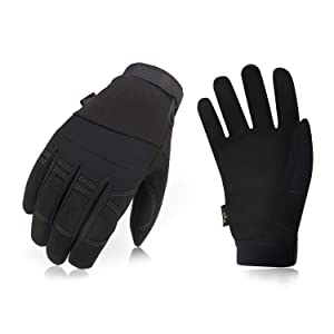 Vgo 3Pairs 32℉ or Above 3M Thinsulate C40 Lined Winter Warm Synthetic Leather Gloves(Size M,Black,SL8270F)