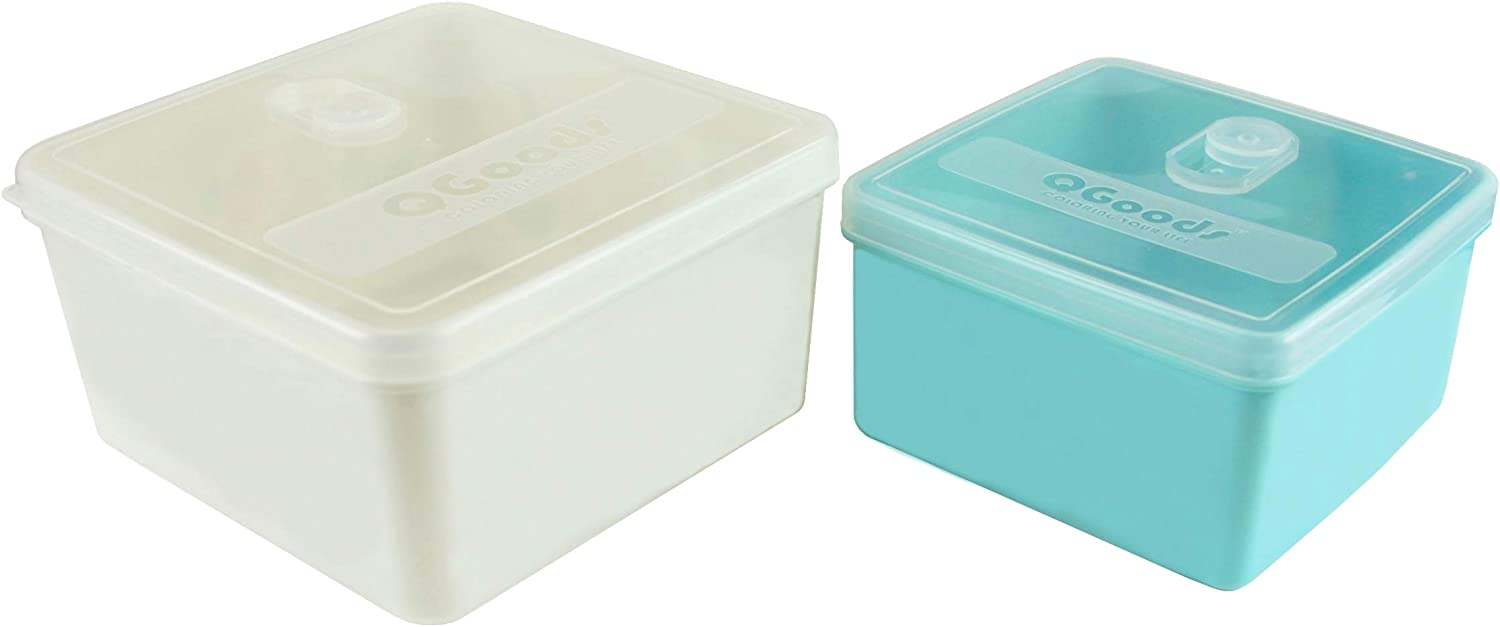 QG 70 & 40oz Square Plastic Food Storage Containers with Lids BPA Free - 2 Pieces White & Light Blue