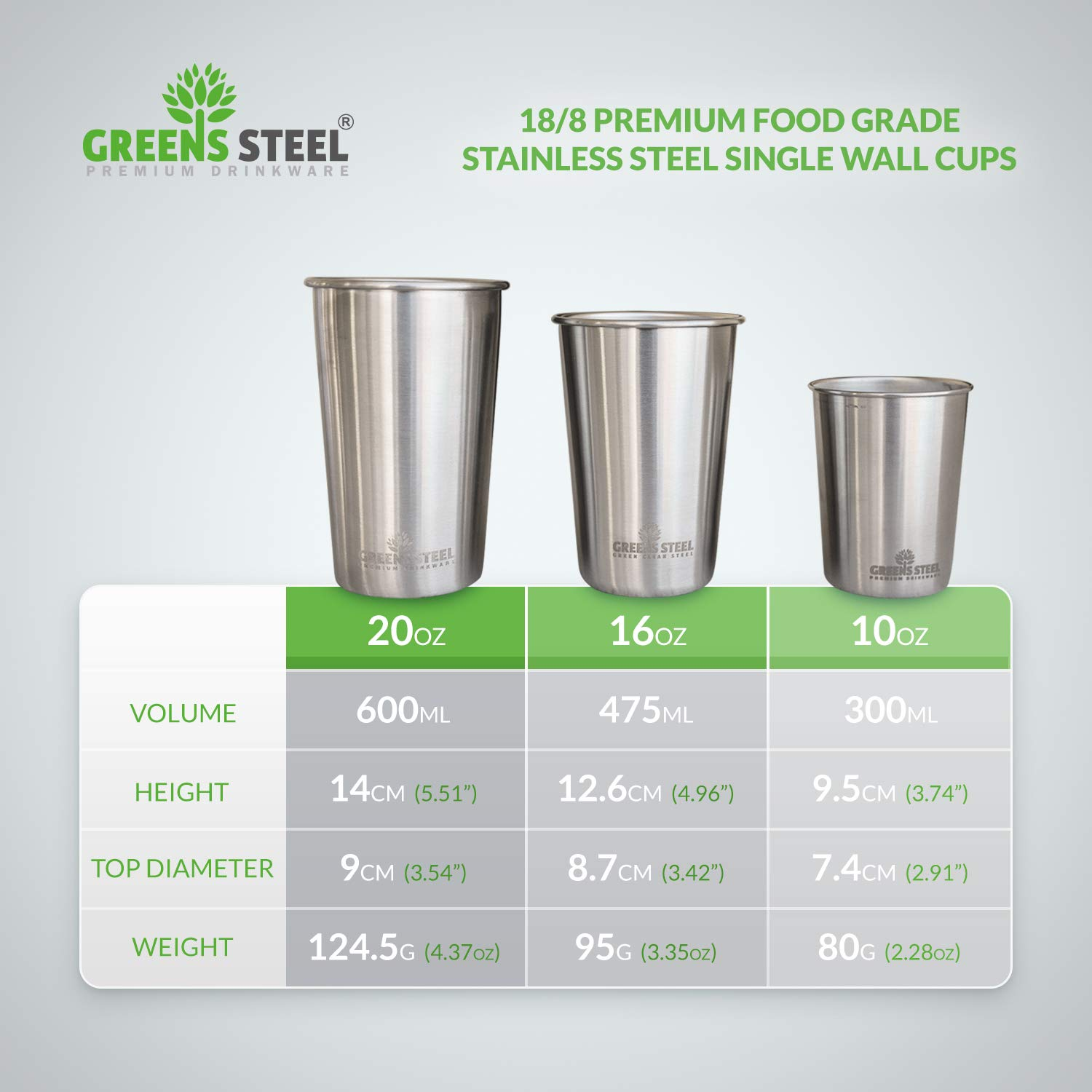 10oz Stainless Steel Cups - Metal Cups For Kids - BPA free (4 Pack) by Greens Steel (Image #6)