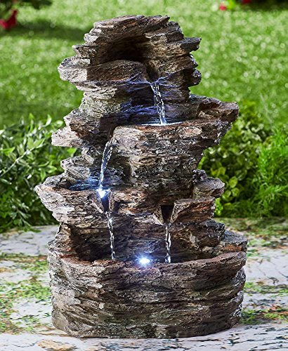The Lakeside Collection Stacked Stone-Look Lighted Fountain