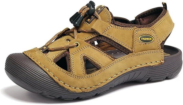 Apragaz Hommes Sandales Randonnée en Plein Air Sandales Imperméable Sport Sandales Pêcheur Plage Chaussures Fermé Sandales d'eau (Color : Kaki, Taille