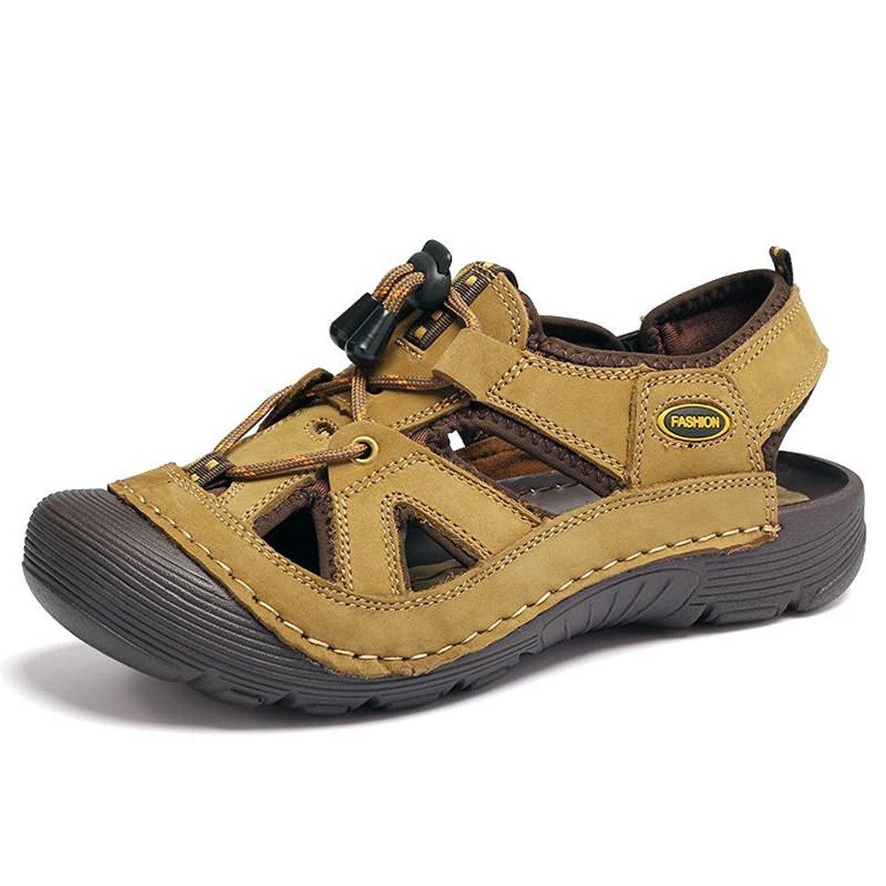 Sunny&Baby Las Sandalias de los Hombres Son Casuales y de Cuero Genuino con Encaje Resistente al Impacto al Aire Libre Alpinismo Zapatos de Agua al Aire Libre Antideslizante 39 EU|Caqui