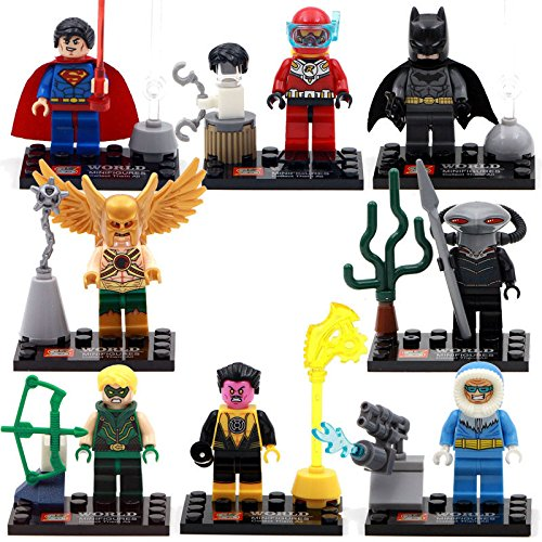[L 8pcs SuperMan Batman Black Manta Robin Hakwman Green Arrow Minifigures Toys Gift] (Cheap Indiana Jones Costumes)