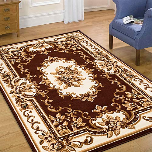 Maxstock Taj Mahal Collection Persian Traditional Design Rectangular Area Rugs -Brown/Ivory/Beige (5 Feet x 7 ()