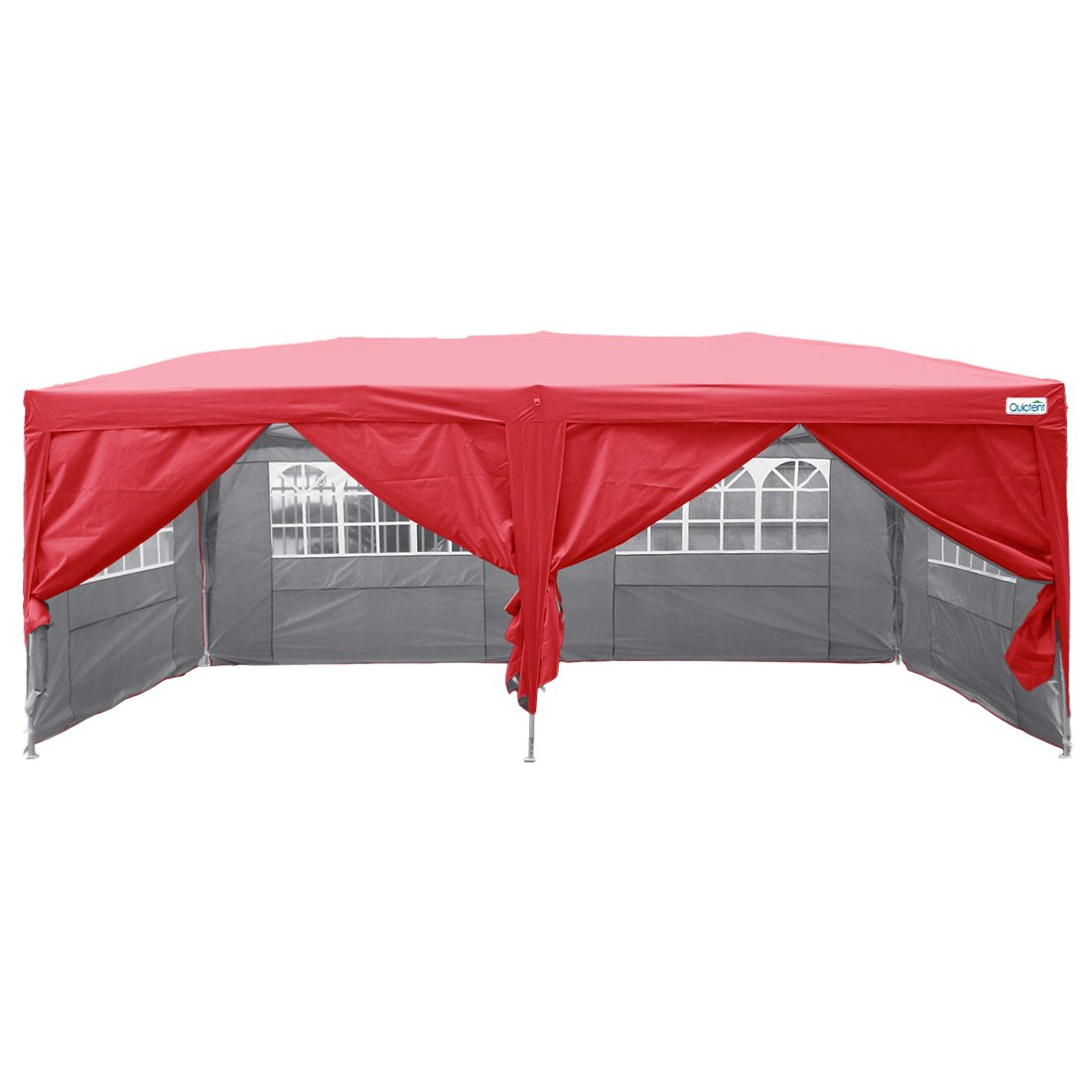 Quictent Silvox Waterproof 20x10' EZ Pop Up Canopy Gazebo Party Tent Red Portable Folding Frame Ez Set Up Removable sides With Roller Bag