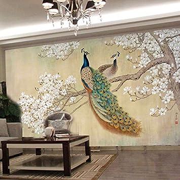 Hochwertig Yosot Fototapete Moderne Kunst Malerei Chinesischen Wohnzimmer Schlafzimmer  Tv Hintergrund Vogel Pfau Magnolia Große Wandbild 3D