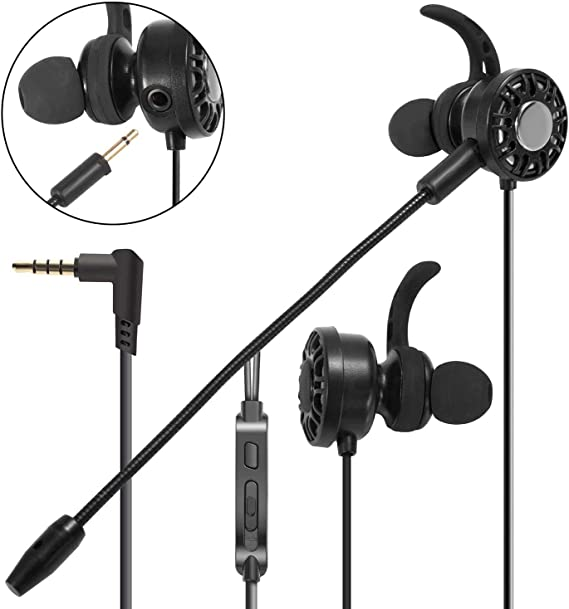 Amazon Com Insten 3 5mm Gaming Earbuds With Mic Audio In Ear Headset Stereo Headphone With Detachable Dual Microphone Compatible With Ps4 Nintendo Switch Lite Pc Mobile Game Cell Phone Laptop Tablet Black
