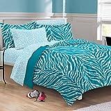 My Room Zebra Ultra Soft Microfiber Comforter Sheet Set, Aqua, Full