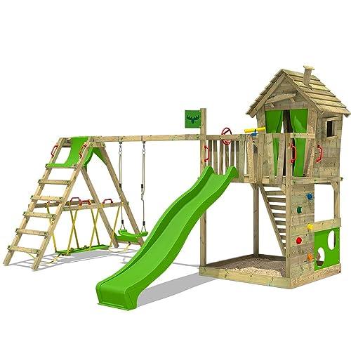 FATMOOSE Cabane HappyHome Hot XXL Maison d'enfants pour jardin Aire de jeux avec balançoire, toboggan vert clair, surf-extension, bac à sable + Accessoires