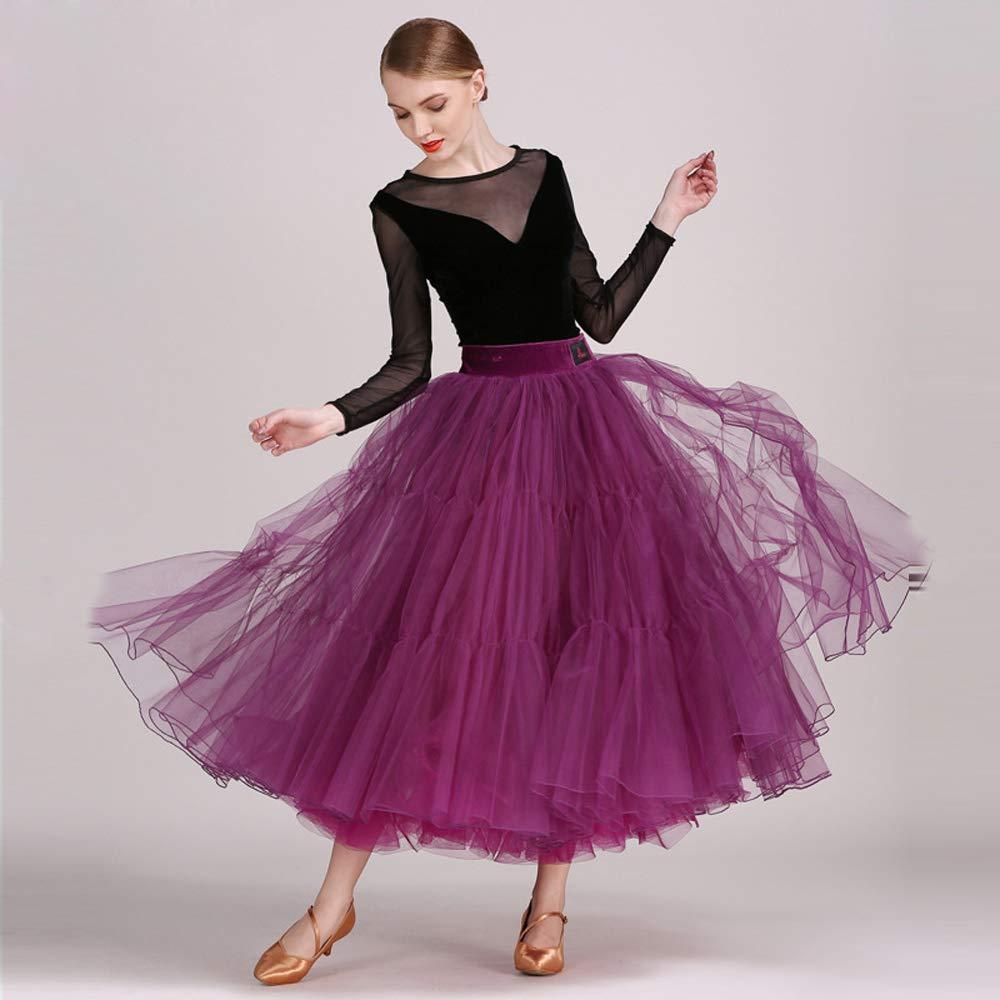 現代の女性大きな振り子ベルベットモダンダンスドレスタンゴとワルツダンスドレスダンスコンペティションスカート長袖細い糸ダンスコスチューム B07HHNRH4D Small|Purple Purple Small