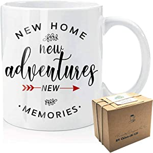 New Adventure New Memories Coffee Mug, Housewarming Gifts for New Home Owner House Warming Presents for Friends And Couple Tea Cup