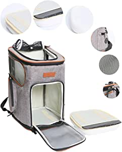 ICOSPET Soft-Sided Pet Carrier Backpack for Small Dogs and Cats Airline-Approved, Designed for Travel, Hiking, Walking & Outdoor Use 17''T11''WD11''(Platinum Grey