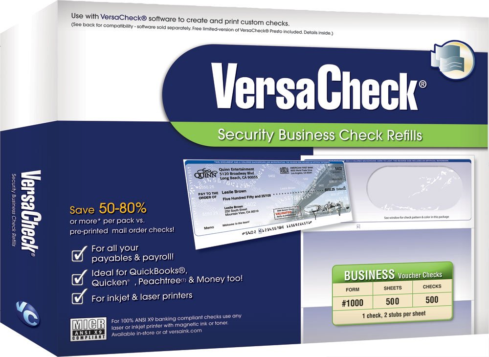 versa business check paper You will need to get the {versa check gold 2010 and business size checks paper} and you can get that from any office depot,staples or you can get that from versacheck website online here is the link to use in ordering for versacheck paper form #1000 white paper.